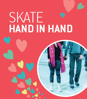 This Valentine's Day, skate hand in hand at the Atrium Le 1000 skating rink.