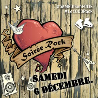 Samedis en folie à la patinoire Atrium Le 1000 - Le samedi 6 décembre, c'est la Soirée Rock!