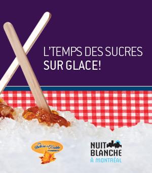 La Nuit blanche à Montréal - Quartier Vieux-Montréal #61 : L'temps des surcres sur glace à la patinoire Atrium le 1000. Admission et tire d'érable gratuite dès 17 h!